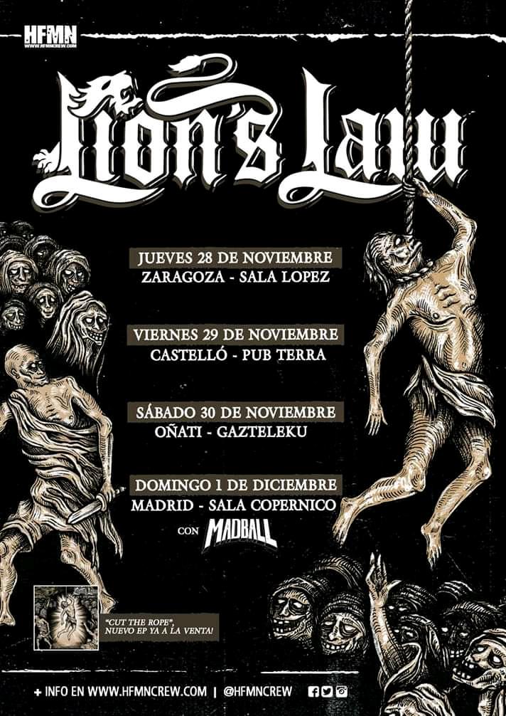 Gira de Lion's Law con conciertos en Zaragoza Castellò Oñati y Madrid en noviembre de 2019