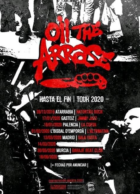Cartel con las fechas confirmadas de la gira Hasta El Final 2020 de Oi! The Arrase
