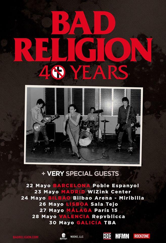 Cartel de la gira peninsular de Bad Religion en mayo de 2020 con conciertos en Barcelona, Madrid, Bilbao, Lisboa, Málaga, Valencia y Galicia
