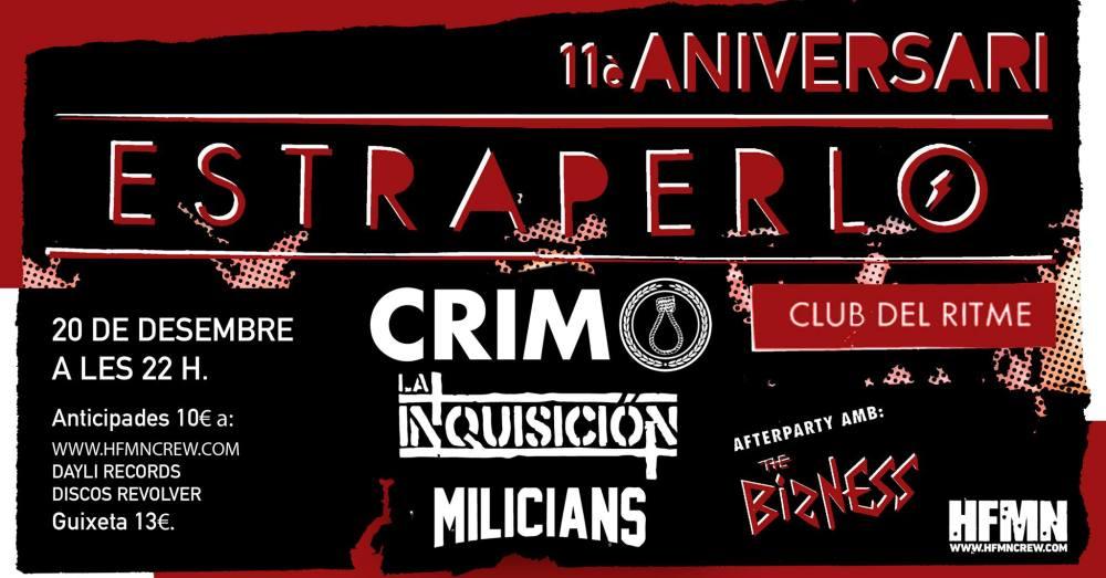 Cartel del concierto de CRIM + La Inquisición + Milicans @ Estraperlo Club, el 20 de diciembre de 2019
