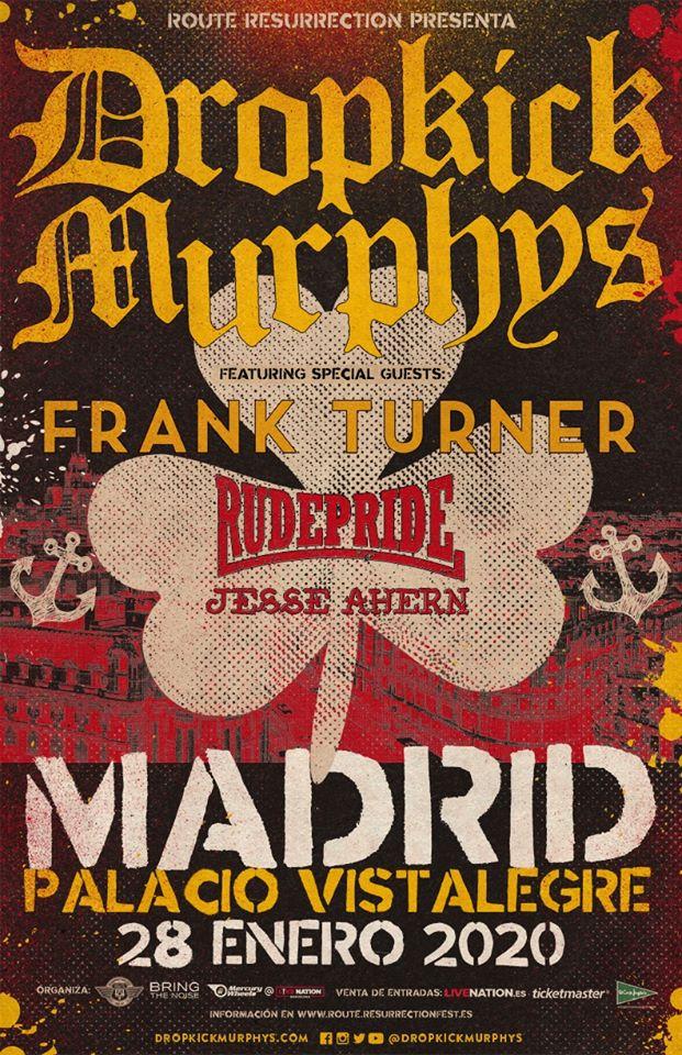 Cartel del concierto de Dropkick Murphys en Madrid el 28 de enero de 2020