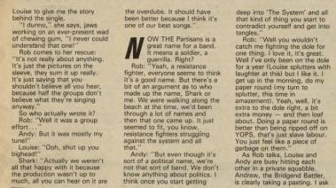 3 hoja entrevista en Sounds con The Partisans, en septiembre de 1982