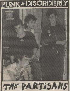 1 hoja de la entrevista en Punk + Disorderly con The Partisans, publicada en octubre de 1983