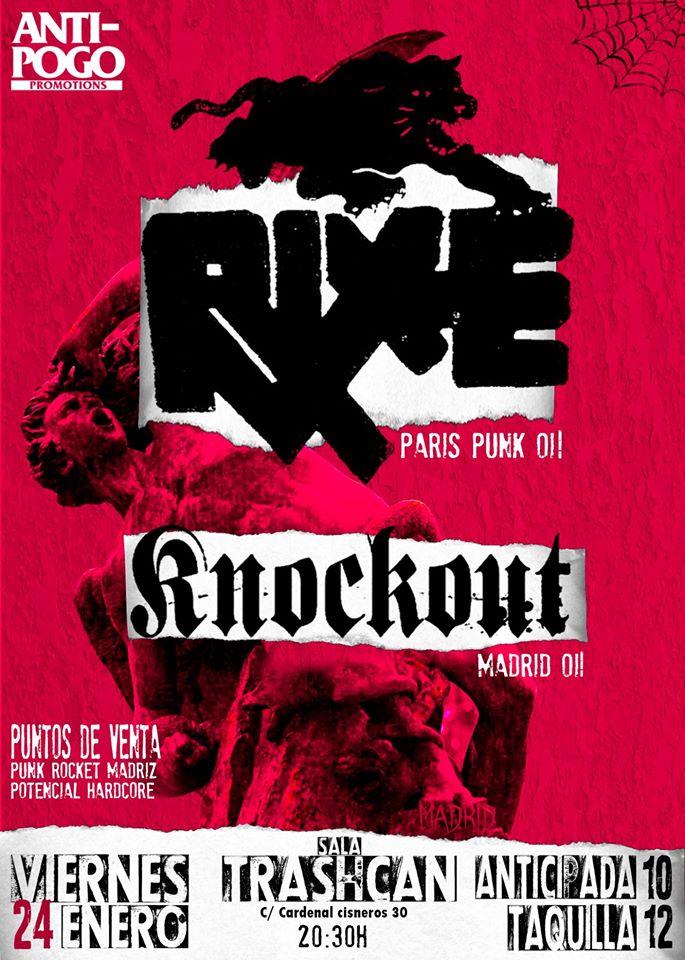 Cartel del concierto de Rixe + KnockOut @ Trashcan, Madrid, el viernes 24 de enero de 2020