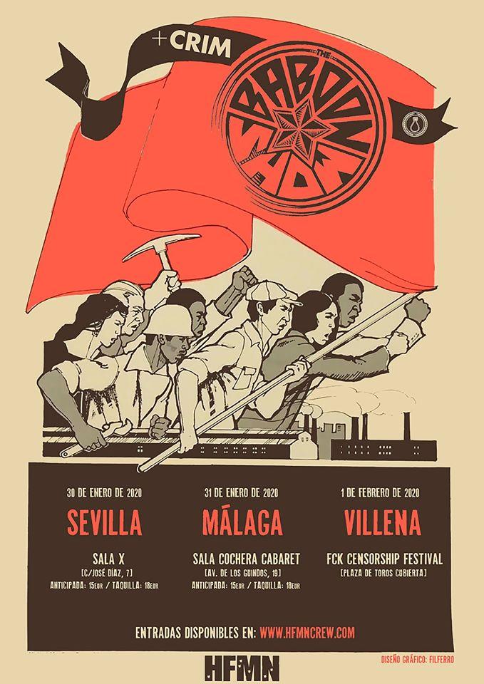 Cartel de la gira de The Baboon Show y CRIM en enero de 2020 con conciertos en Sevilla, Málaga y Villena