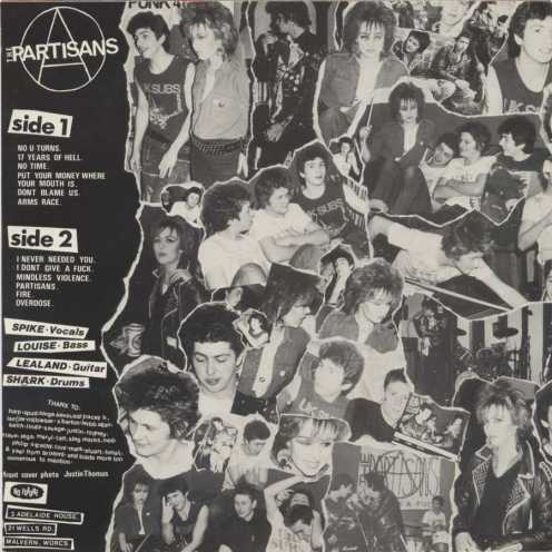 Contraportada del primer disco de The Partisans, editado por No Future en 1983