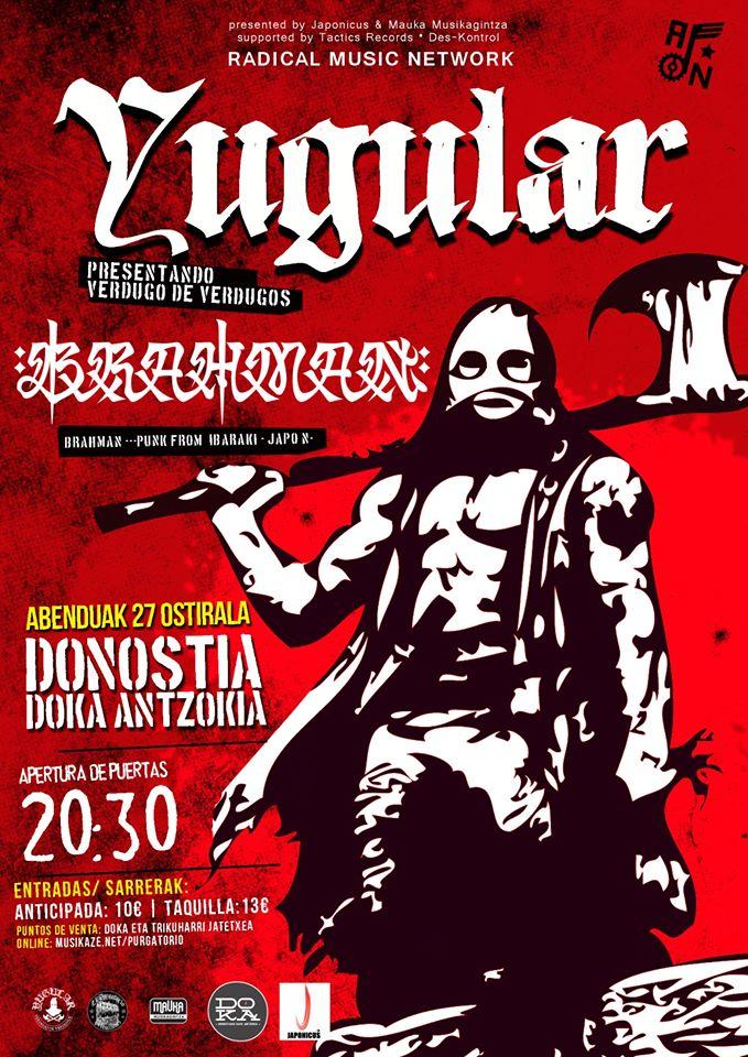 Cartel del concierto de Yugular + Brahman @ Doka Antzokia, Donostia, el 27 de diciembre de 2019