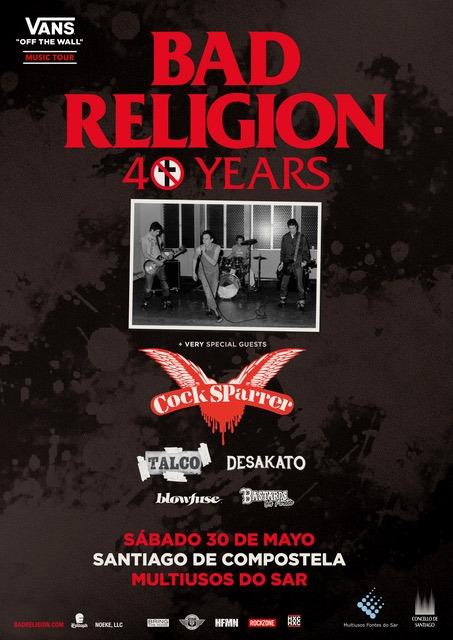 Concierto Bad Religion y Cock Sparrer en Santiago de Compostela el sábado 23 de mayo de 2020