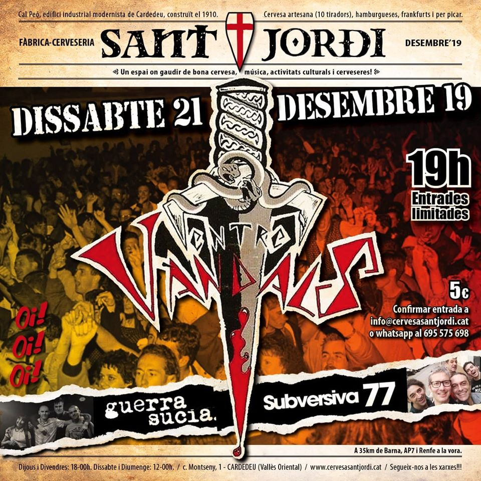 Cartel del concierto Entre Vandals + Guerra Sucia + Subersiva 77 @ Fábrica Cervesa Sant Jordi para el sábado 21 de diciembre de 2019