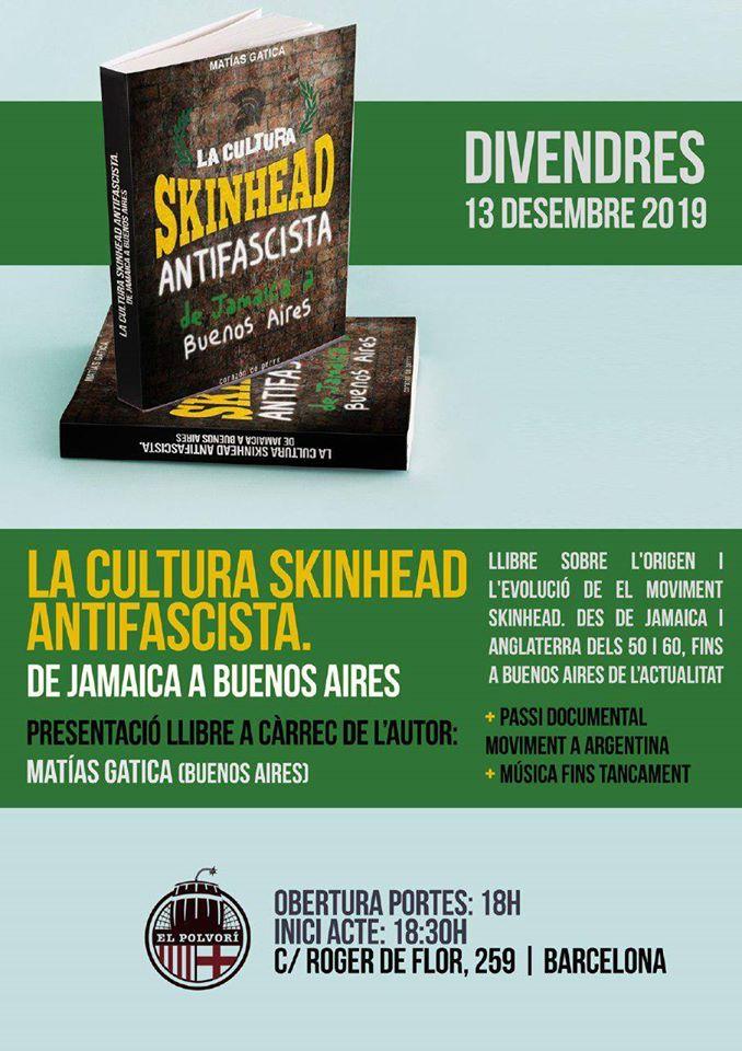 Presentación del libro 'La cultura skinhead antifascista. De Jamaica a Buenos Aires' de Matías Gatica en El Polvoríì de Barcelona