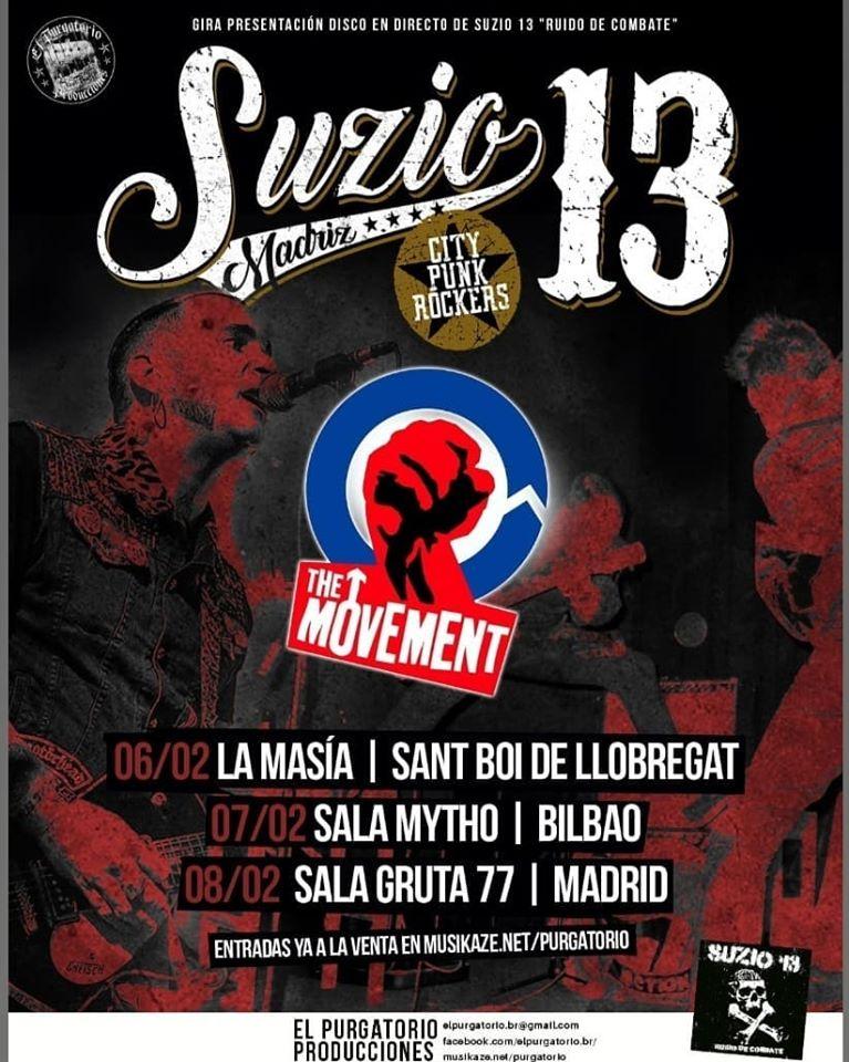 Conciertos de The Movement y Suzio 13 en Sant Boi de Llobregat, Bilbao y Madrid