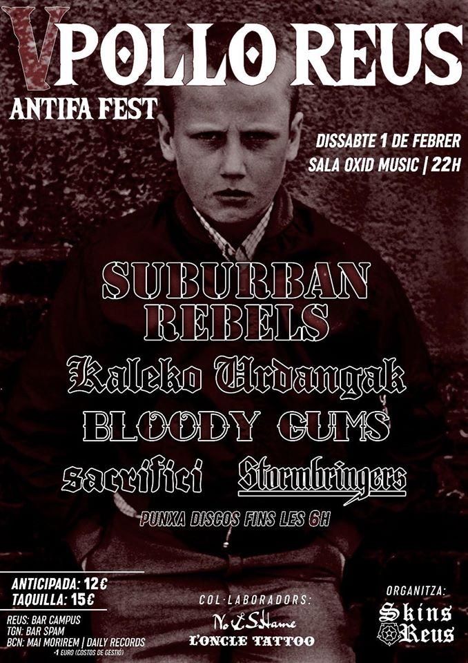 Cartel del V Pollo Reus Antifa Fest con Suburban Rebels, Kaleko Urdangak, Bloody Gums, Sacrifici, Stormbringers