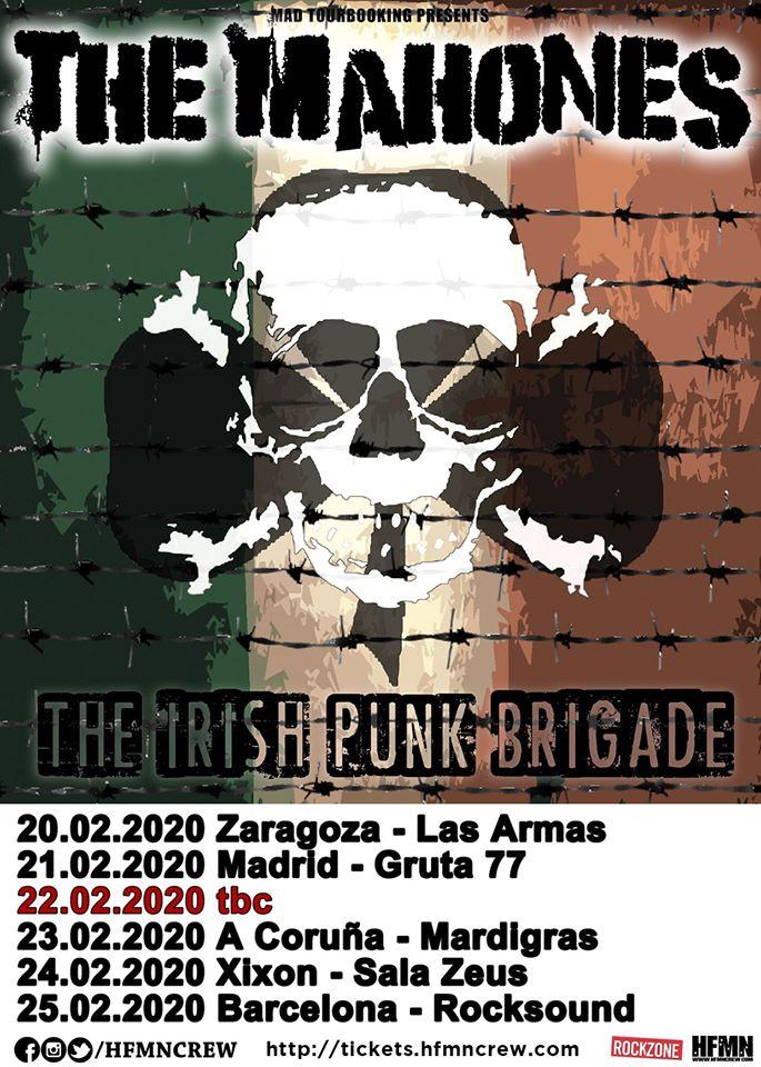Cartel de la gira de The Mahones con conciertos en Zaragoza, Madrid, A Coruña, Xixón y Barcelona en febrero de 2020