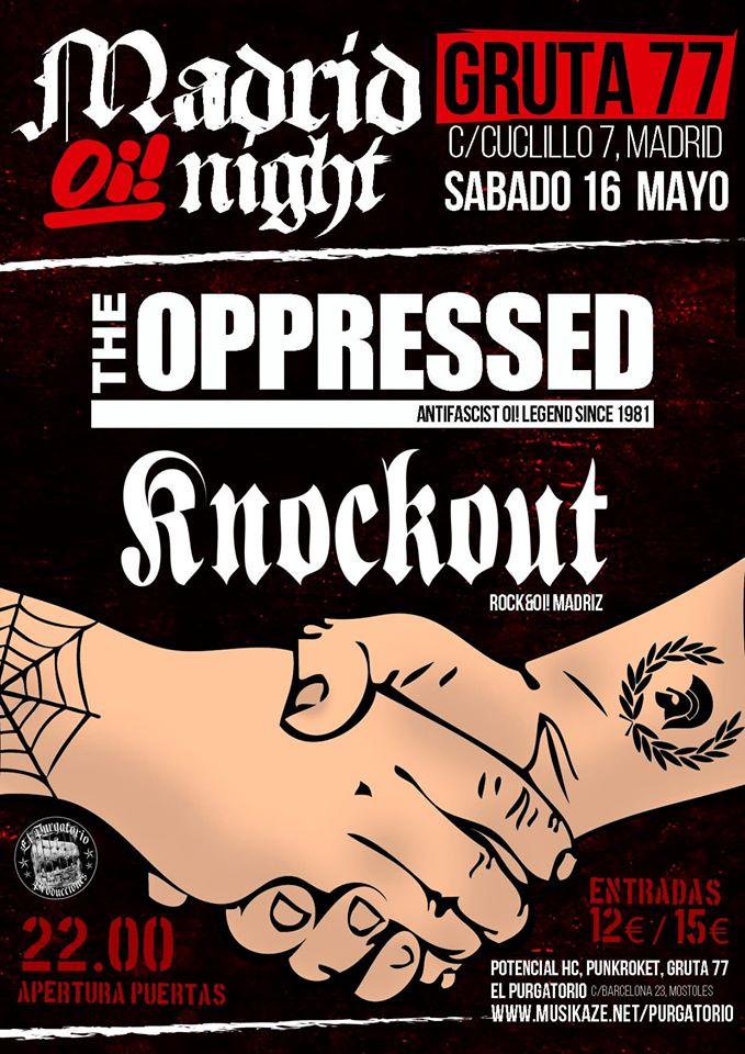 Concierto de The Oppressed + KnockOut @ Gruta 77, Madrid, el 16 de mayo de 2020