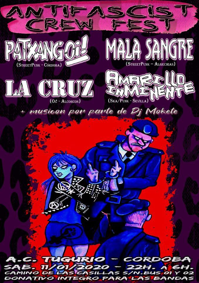 Antifascist Crew Fest 2020 con Patxangoi!, La Cruz, Mala Sangre y Amarillo Inminente @ AC Tugurio, Córdoba, el sábado 11 de enero de 2020