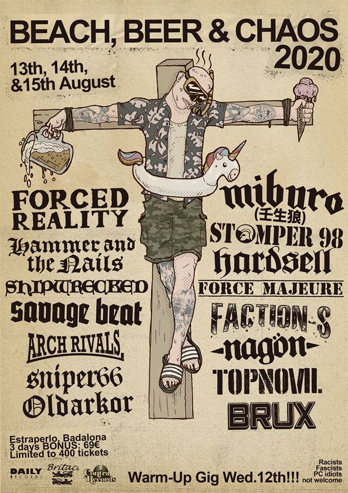 Cartel del festival Beach, Beer & Chaos 2020 que se celebra del 12 al 15 de agosto de 2020 en el Estraperlo de Badalona