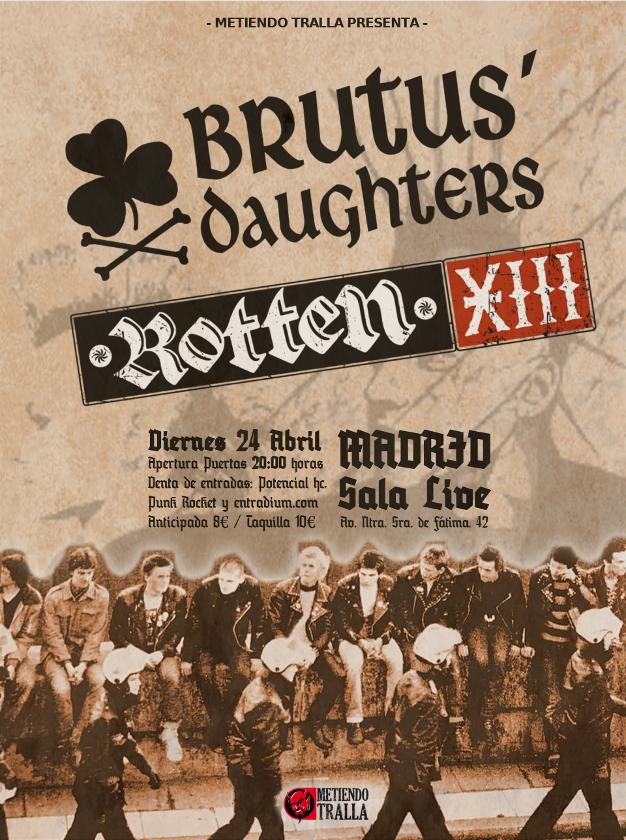 Cartel del concierto de Brutus Daughtes + Rotten XIII @ Sala Live, Madrid, el viernes 24 de abril de 2020