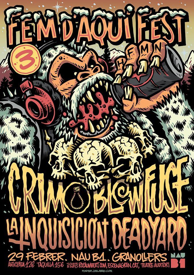 Cartel del Fem d'Aquí Fests de Granollers con CRIM, Blowfuse, La Inquisición y Deadyard