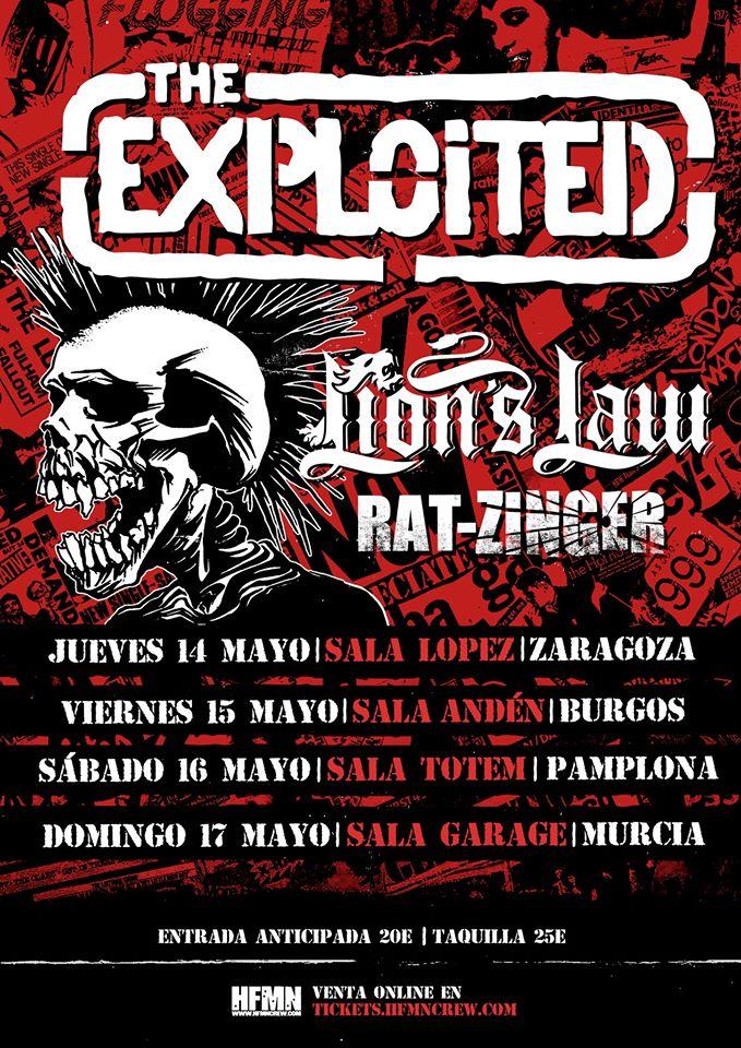 Cartel de la gira de The Exploited, Lion's Law y Rat-Zinger con conciertos en Zaragoza, Burgos, Villaba y Murcia en mayo de 2020