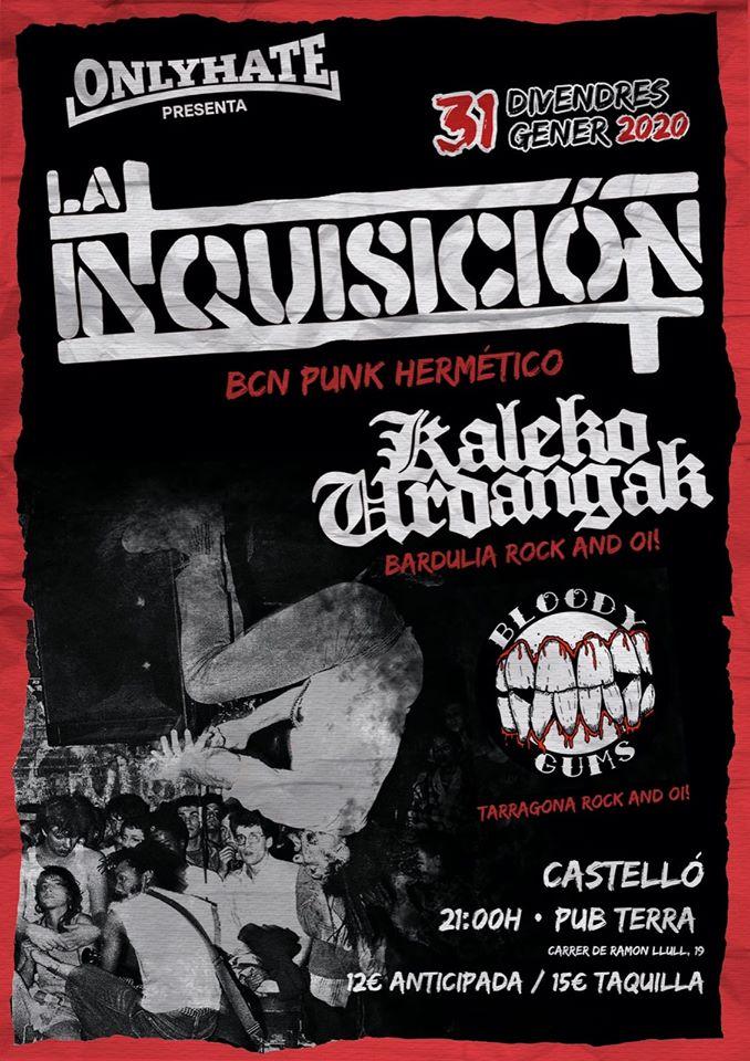 Cartel del concierto de Kaleko Urdangak, La Inquisición y Bloody Gums @ Pub Terra, Castellò, el viernes 31 de enero de 2020