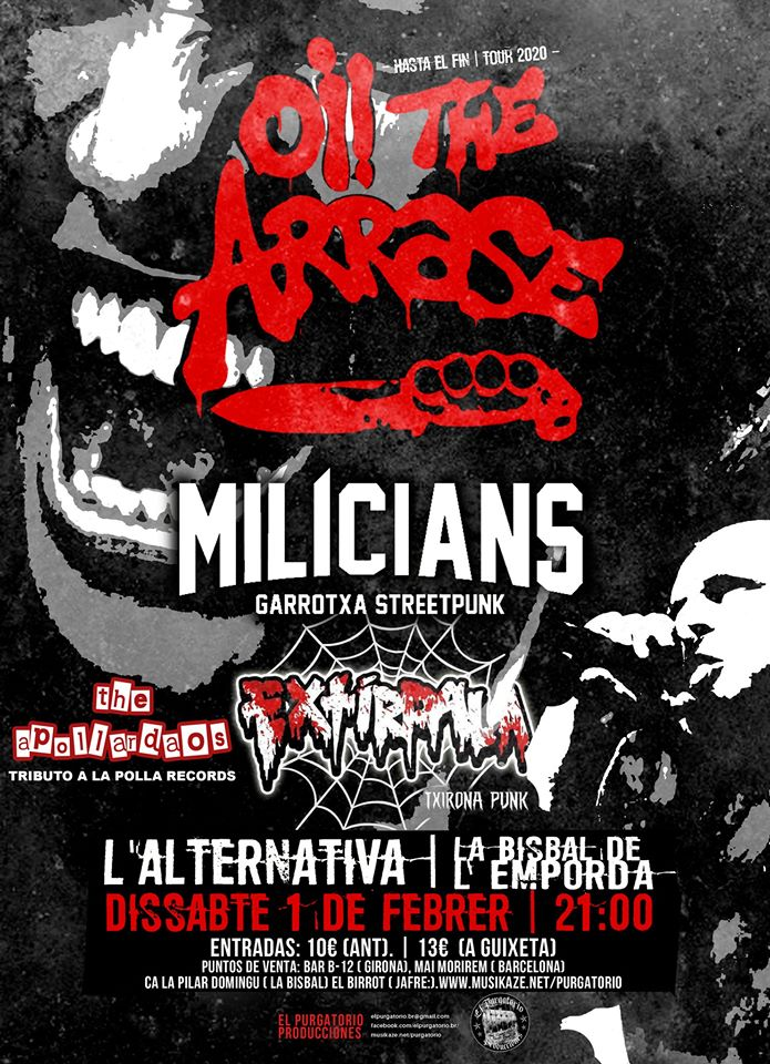 Cartel del concierto de Oi! the Arrase, Milícians y Extírpala @ L'Alternativa, La Bisbal de L'Empordà el sábado 1 de febrero de 2020