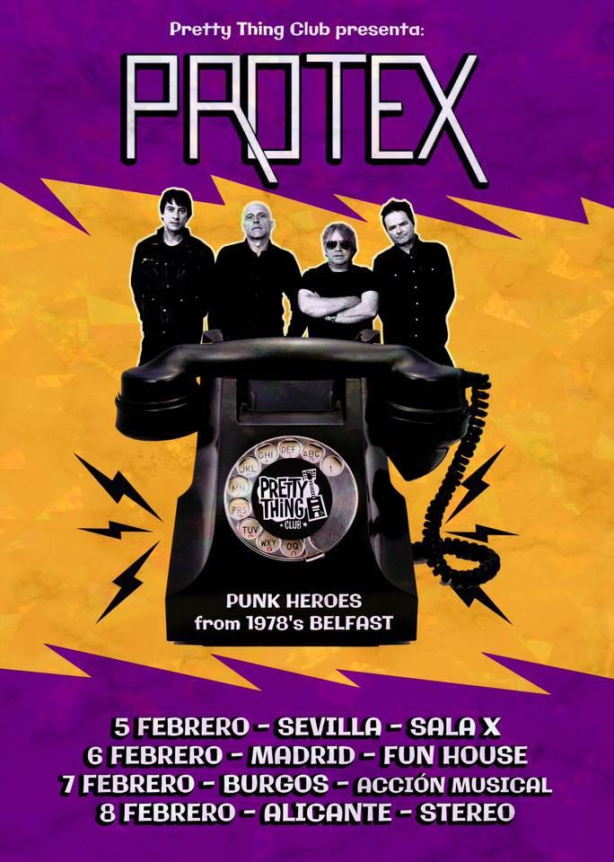 Cartel de la gira de Protex con conciertos en Sevilla, Madrid, Burgos y Alicante en febrero de 2020