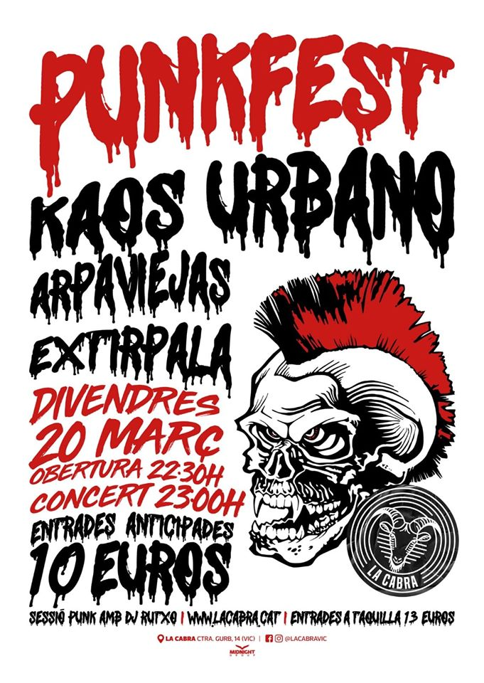 Cartel del PunkFest con Kaos Urbano, Arpaviejas y Extirpala @ Sala La Cabra, Vic (Barcelona), el viernes 20 de marzo de 2020