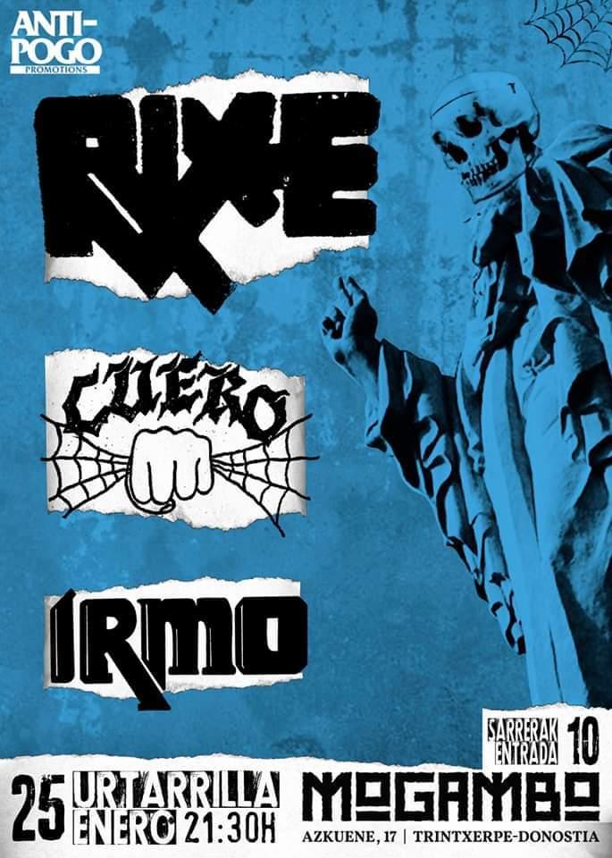 Cartel del concierto de Rixe, Cuero e Irmo @ Mogambo, Donosti, el sábado 25 de enero de 2020