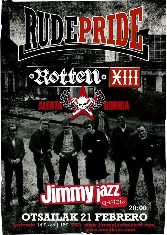 Cartel del concierto de Rude Pride, Rotten XIII y Alerta Gorria @ Jimmy Jazz, Vitoria-Gasteiz, viernes 21 de febrero de 2020