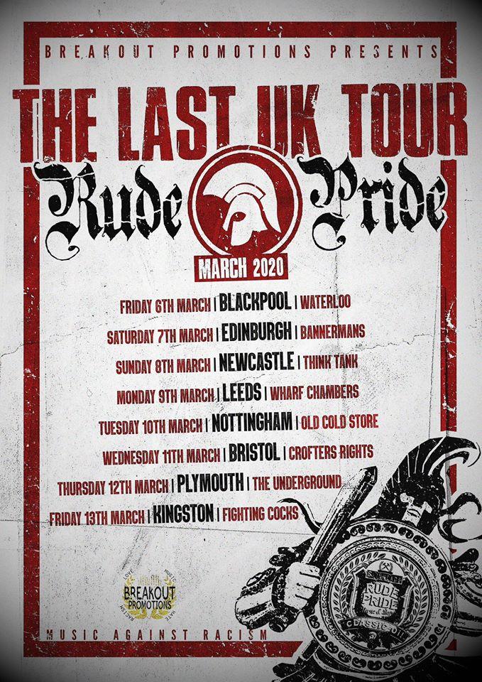 Cartel del UK Tour 2020 de Rude Pride