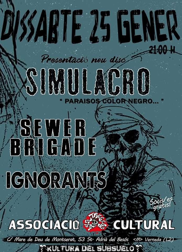 Cartel del concierto de Simulacro + Sewer Brigade + Ignorants @ Sant Adrià de Besòs, el sábado 25 de enero de 2020