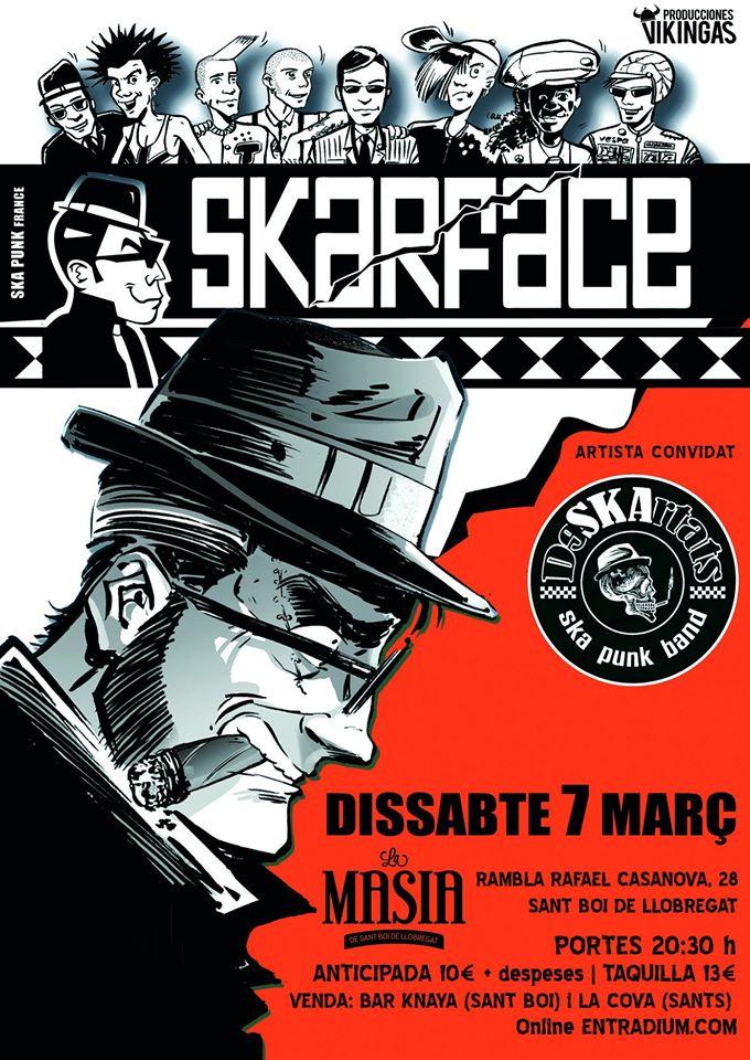 Cartel del concierto de Skarface + Deskartats @ La Masia de Sant Boi de Llobregat, el sábado 7 de marzo de 2020