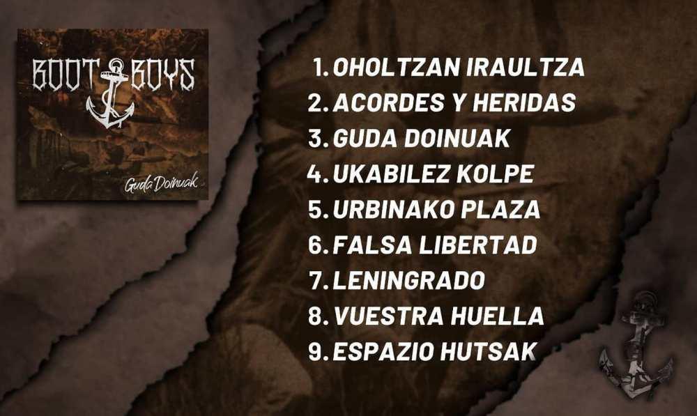 Boot Boys: Listado de canciones de Guda Doinuak (Redcore Records, 2020)