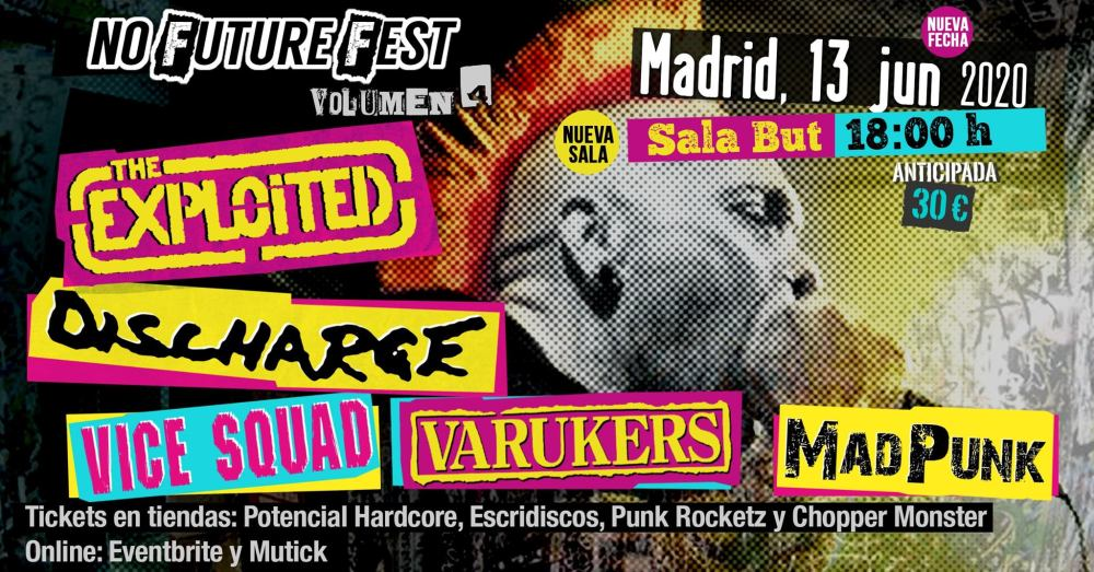 Cartel del No Future Fest Vol. 4 @ Sala But, Madrid, el sábado 13 de junio de 2020