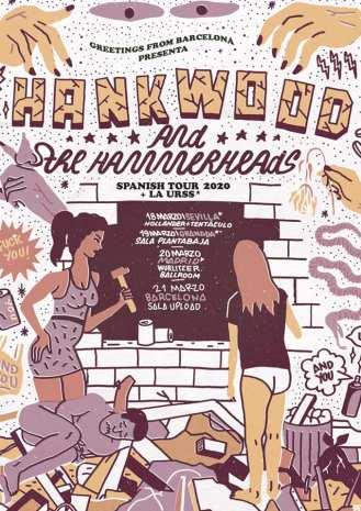 Cartel de la gira de Hank Wood & The Hammerheads y La URSS en marzo de 2020