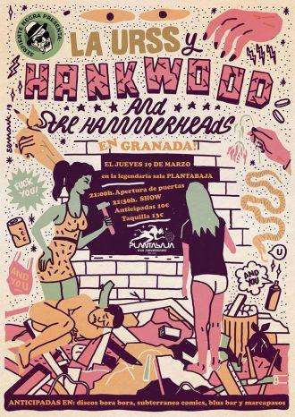 Cartel del concierto de Hank Wood & The Hammerheads + La URSS @ Planta Baja, Granada, el jueves 19 de marzo de 2020