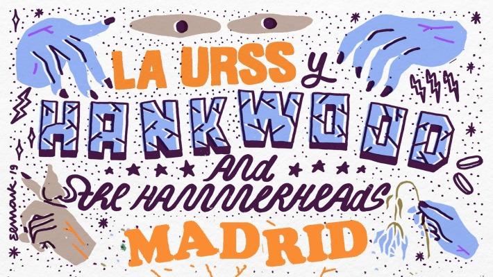 Cartel del concierto de Hank Wood & The Hammerheads + La URSS @ Wurlitzer Ballroom, Madrid, el sábado 20 de marzo de 2020