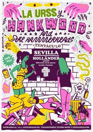Cartel del concierto de Hank Wood & The Hammerheads + La URSS + Tentáculo @ Sala Hollander, Sevilla, el miércoles 18 de marzo de 2020