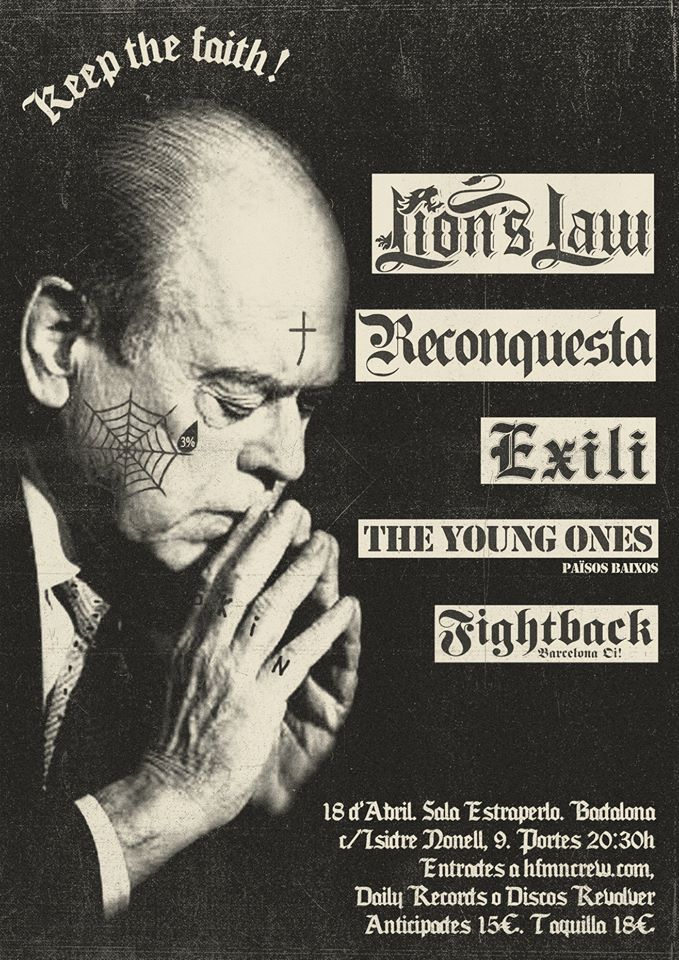 Cartel del concierto de Lion's Law + The Young Ones + Reconquesta + Exili + Fightback @ Estraperlo, Badalona, el sábado 18 de abril de 2020