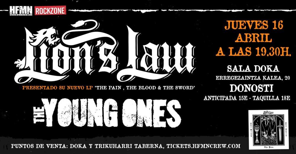 Cartel del concierto de Lion's Law + The Young Ones @ Doka Kafe Antzokia, Donosti, el jueves 16 de abril de 2020