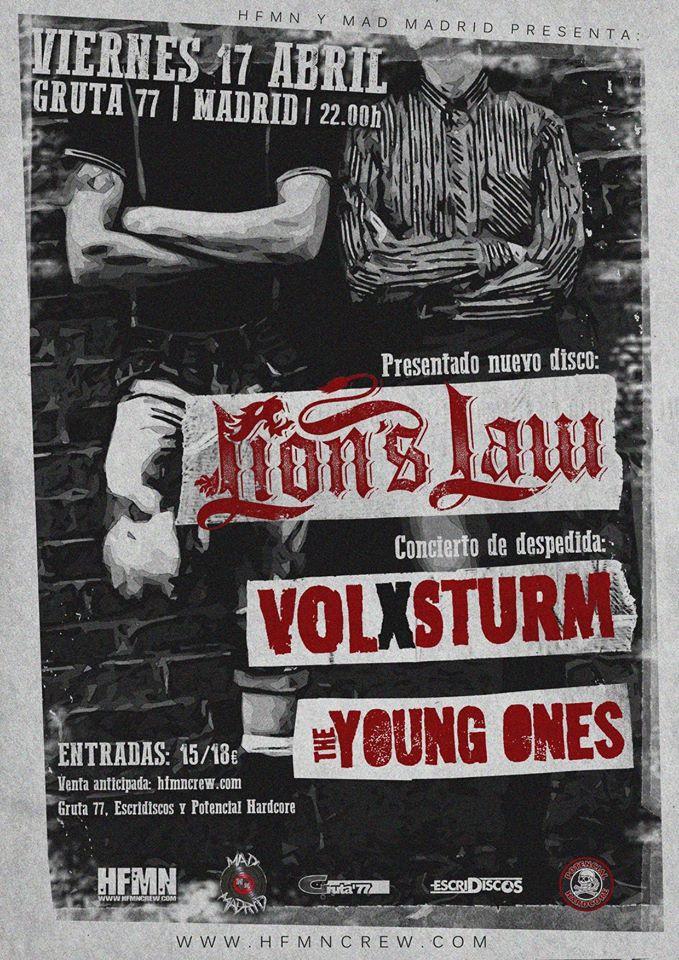 Cartel del concierto de Lion's Law + Volxsturm + The Young Ones @ Gruta 77, Madrid, el viernes 17 de abril de 2020