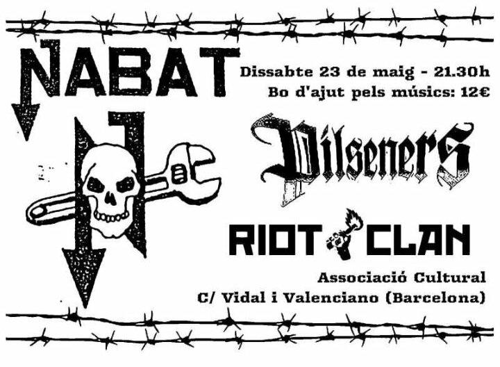 Cartel del concierto de Nabat, Pilseners y Riot Clan @ Barcelona, el sábado 23 de mayo de 2020