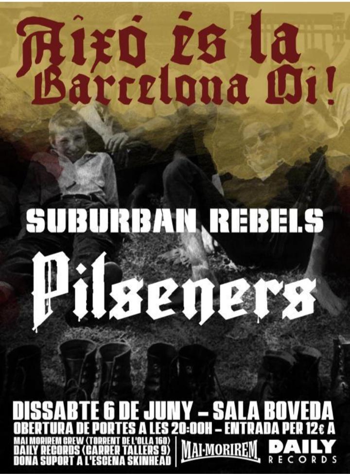 Cartel del concierto de Suburban Rebels + Pilseners @ Sala Bóveda, Barcelona, el sábado 6 de junio de 2020
