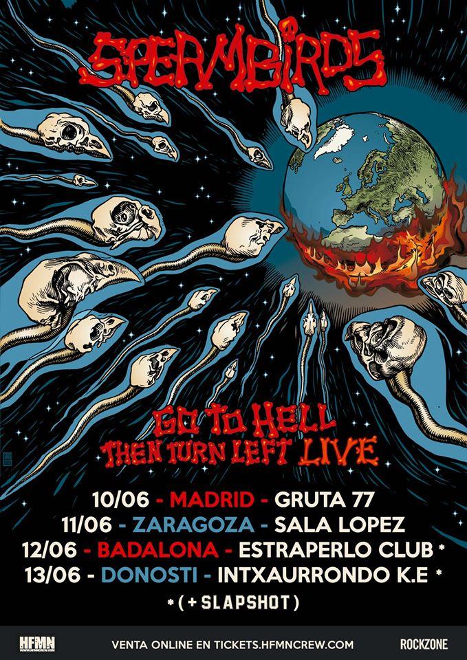 Cartel de la gira de Spermbirds con conciertos en Madrid, Zaragoza, Badalona y Donosti en junio de 2020