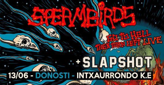 Cartel del concierto de Spermbirds y Slapshot @ Intxaurrondo Kultur Etxea, Donosti, el sábado 13 de junio de 2020