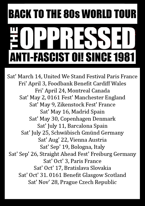 Cartel del concierto de The Oppressed, Pilseners y Martina Sampé @ Sala Upload, Barcelona, el sábado 11 de julio de 2020
