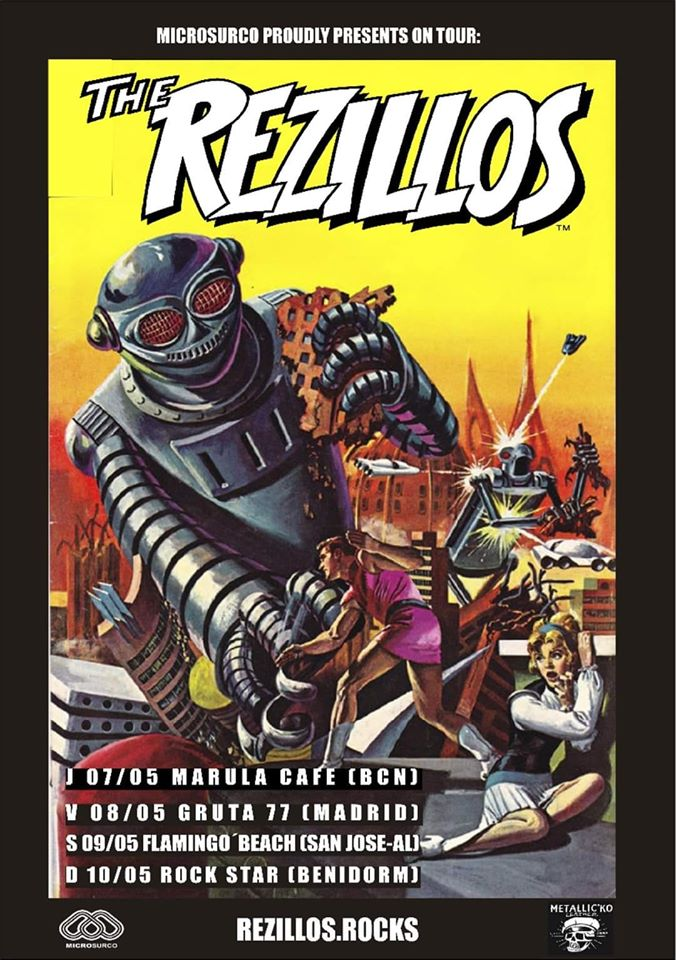 Cartel de la gira de The Rezillos en mayo de 2020 con conciertos en Barcelona, Madrid, Flamin'Go Beach Festival y Benidorm