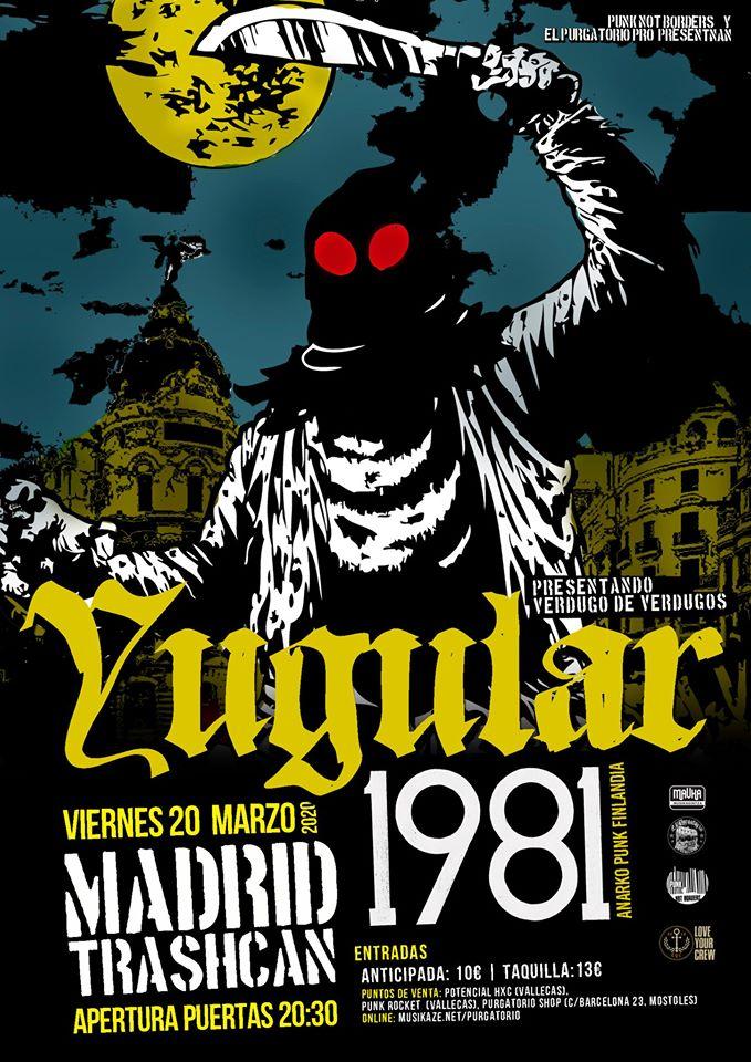 Cartel del concierto de Yugular + 1981 @ Trash Can, Madrid, el viernes 20 de marzo de 2020