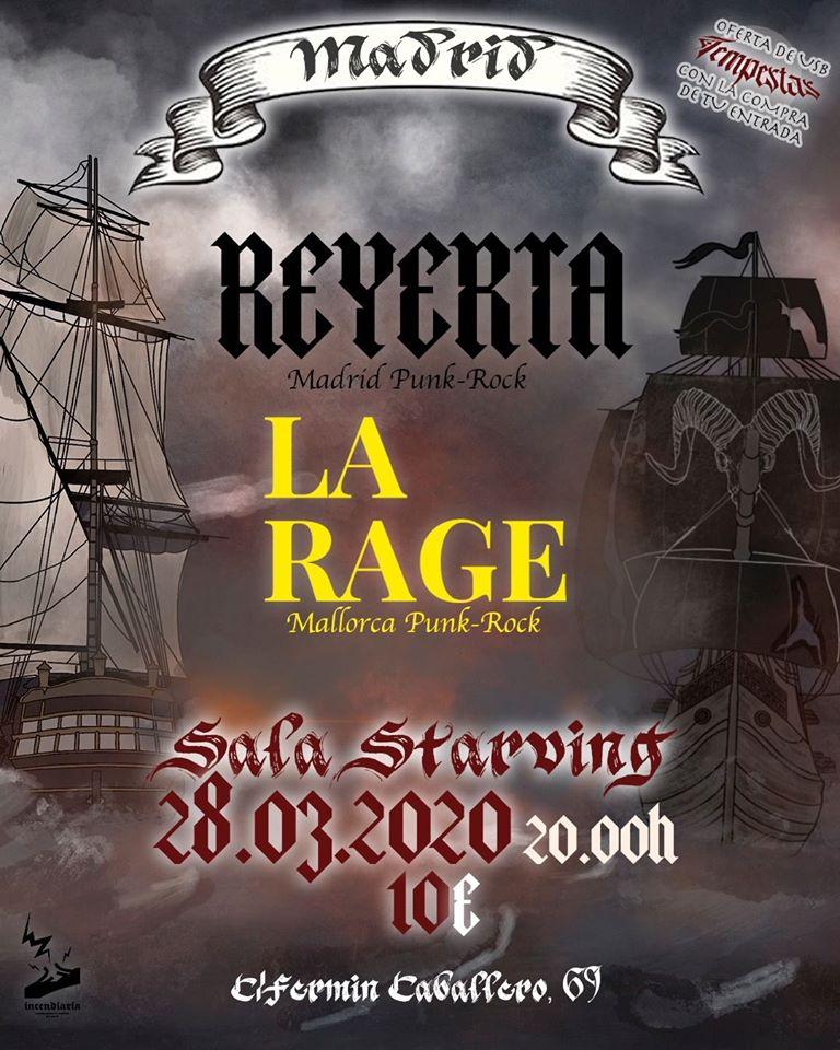 Cartel del concierto de Reyerta y La Rage @ Sala Starving, Madrid, el sábado 28 de marzo de 2020