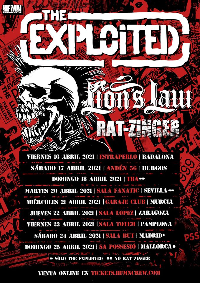 Cartel de la gira de The Exploited, Lion's Law y Rat-Zinger en abril de 2021